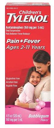 Children's Tylenol Oral Suspension Medicine with Acetaminophen; Bubblegum; 4 oz