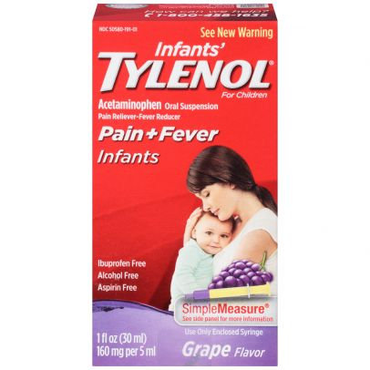 Infants' Tylenol Liquid with Acetaminophen, Pain + Fever Relief, Dye-Free Grape
