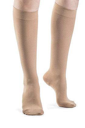 SOFT OPAQUE Women's Nude Closed Toe Calf Compression Socks Knee High