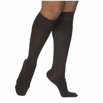 SELECT COMFORT Women's Black Closed Toe Calf Compression Socks Knee-High