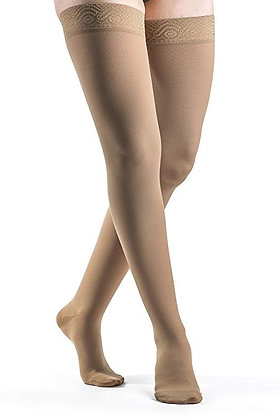 SELECT COMFORT Women's Suntan Closed Toe Compression Stocking Thigh-High