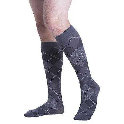 Graphite Argyle Sigvaris Microfiber Shades 15-20 mmHg Closed Toe Knee Highs