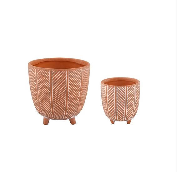 Clay Chevron Footed Planter