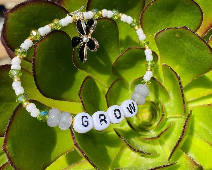 """""""Grow"""" Beaded Bracelet (White Lettering)"""
