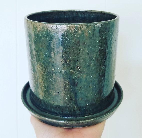 Hand-Thrown Green Glazed Planter