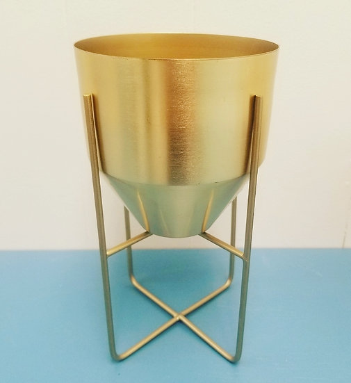 """4"""" Gold Metal Planter w/Stand"""