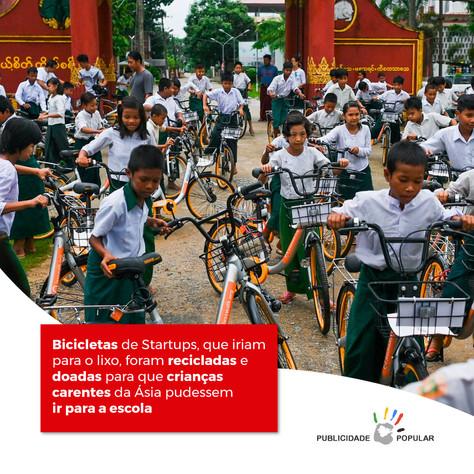 Bicicletas de Startups, que iriam para o lixo, foram recicladas e doadas para que crianças carentes