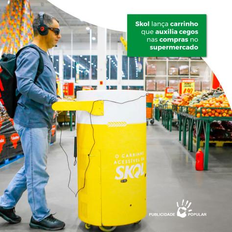 Skol lança carrinho que auxilia cegos nas compras no supermercado
