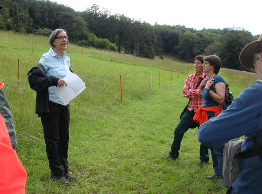 Verena Doppler erläuert die Versuche zum Schnittzeitpunkt in den Magerwiesen oberhalb Biberstein