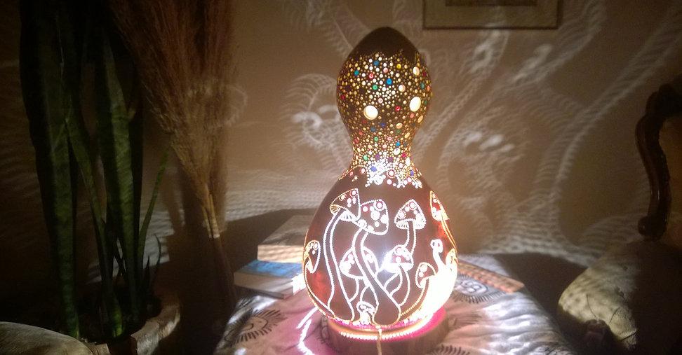 gourd lamp, gourd art, handmade gourd lights