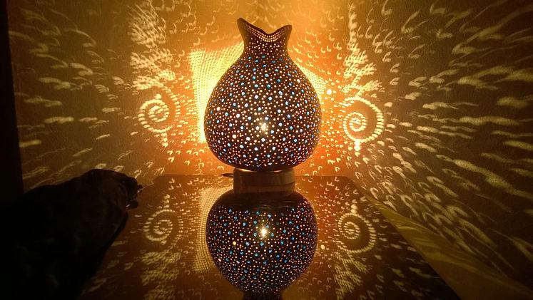 A Transiion handmade gourd light