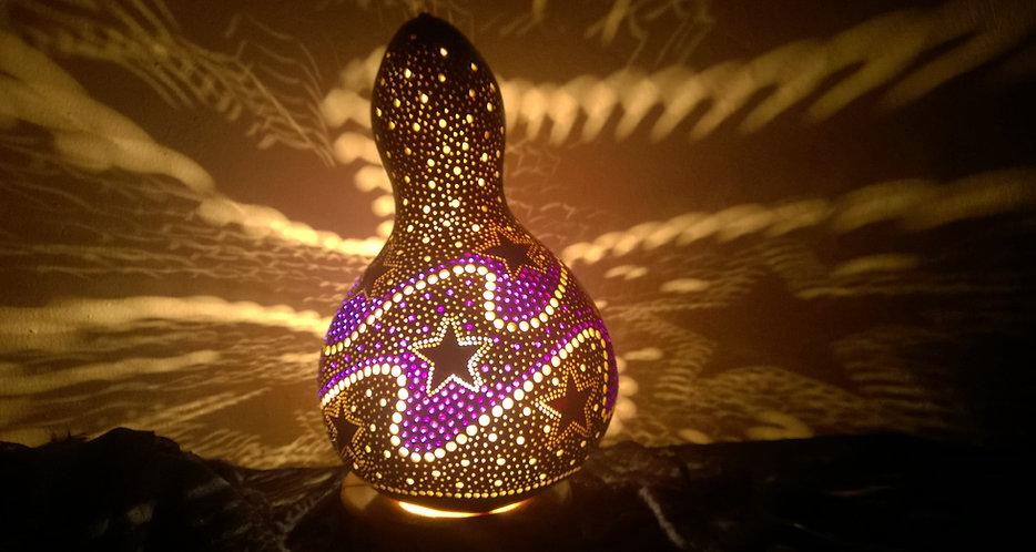 gourd lamp, gourd light, gourd art, teen room decor, unique gift ideas