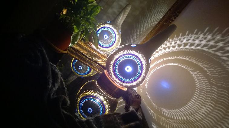 gourd lamps, gourd lghts, gourd art, evil eye decor ideas, boho lights, handmade lamps, unique gift ideas