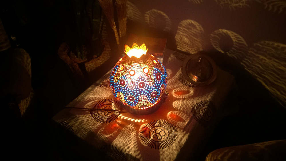 A Bohemian Enigma Handmade Gourd Lamp