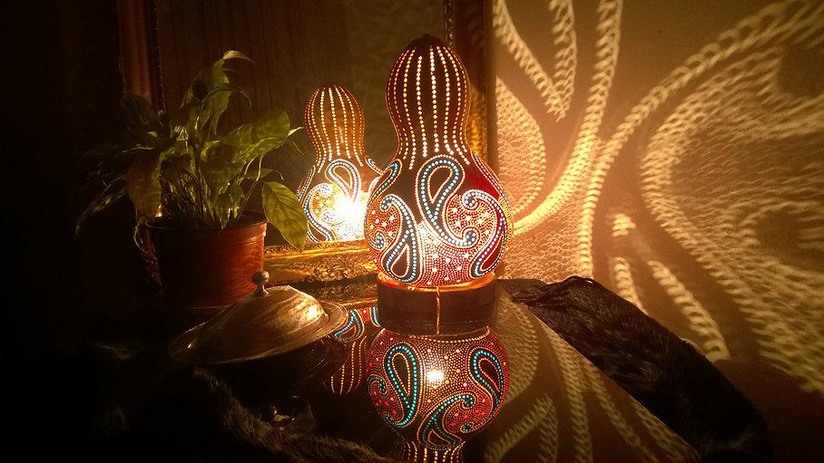 handmade gourd lamps, lighting design, unique gift ideas, boho hom decor