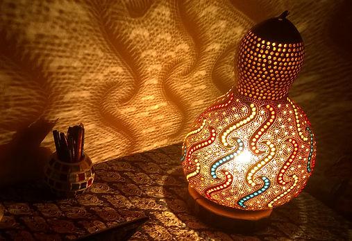 Handmade Gourd Lamp Gourd Art Gourd Light Unique Gift Ideas