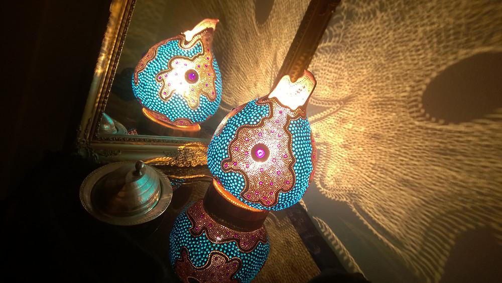 Handmade Gourd Lamp 'A Phenomenal Purple'