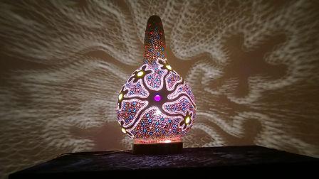 Handmade Gourd Lamp, Unique Gift Ideas, Lighting Design, Gourd Art