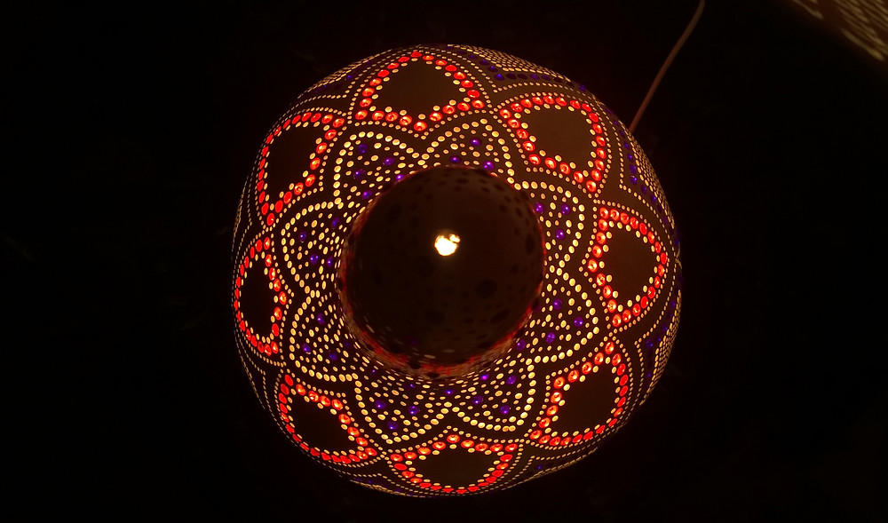 A Gourd Elegance Handmade Gourd Lamp