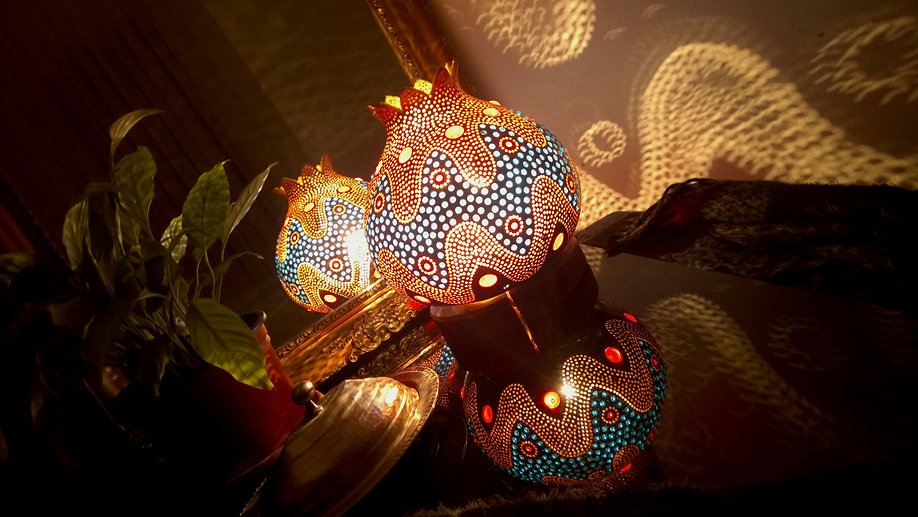 Handmade Gourd Lamp Gourd light Gourd Art Bohemian Home Decor