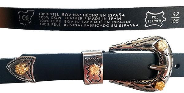 699/20 - Cinturón hebilla doble Cowboy de piel