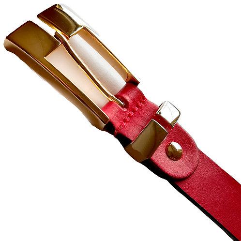 702/25 - Cinturón de alta calidad en piel de vaquetilla, hebilla dorada.
