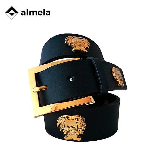 760/35 -Cinturón vaquetilla oro apliques leones