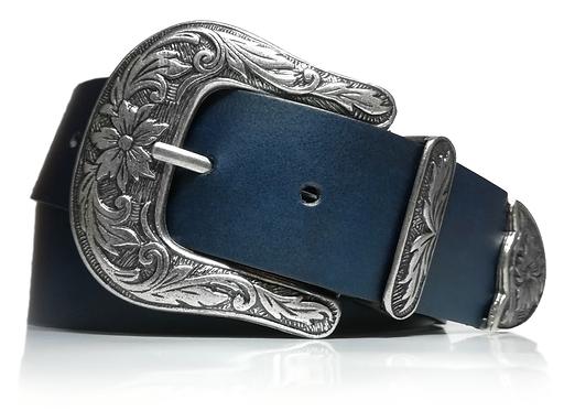 700/40 - Cinturón Mujer Cowboy - Piel legitima - Moda Vintage - 4 cm de ancho