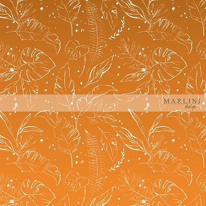 Tropical Leaves Flame Orange - Gradient