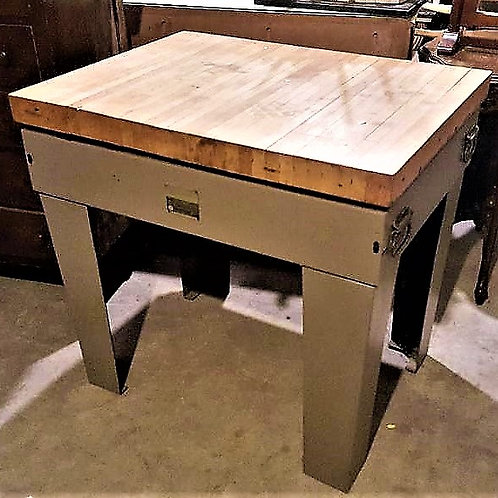 Repurposed kitchen island metal base with bowling alley for top
