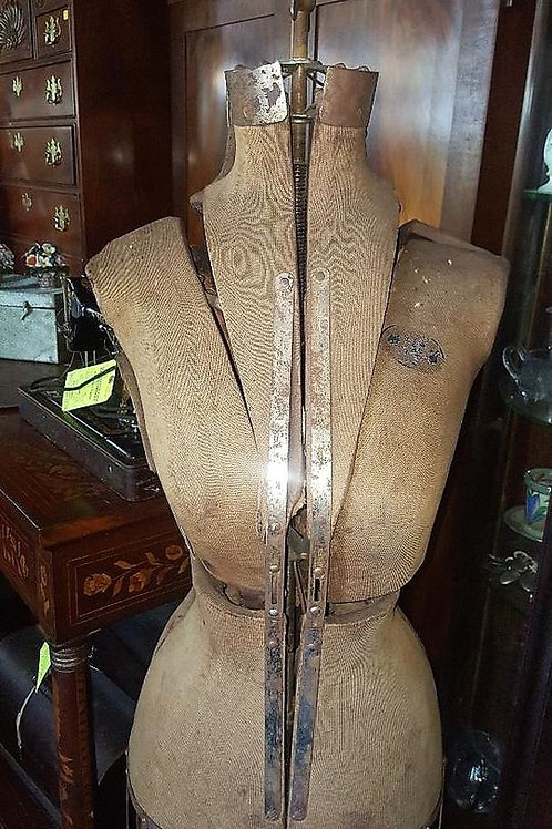 Antique/Vintage Mannequin Dress Form w Cast Iron w/ Cage Skirt Steampunk Display