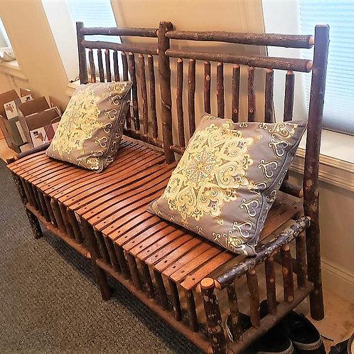 Hickory Adirondack Bench Handmade