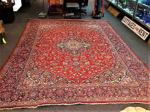 "Handmade Oriental rug 12' 6"" by 9' 4"" great shape"