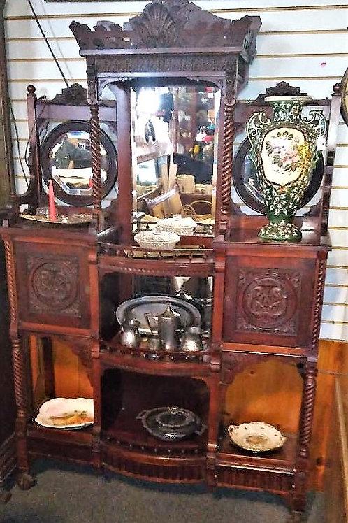 Mountain Carved Oak Cabinet