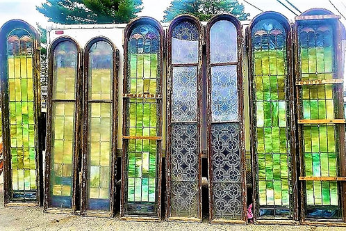 Antique Church Stained Glass windows w/ 70 individual pieces within large window