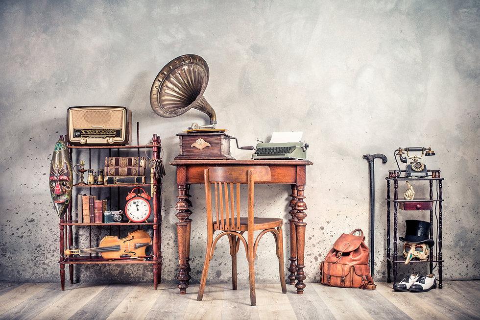 Antique chair, old typewriter, retro rad