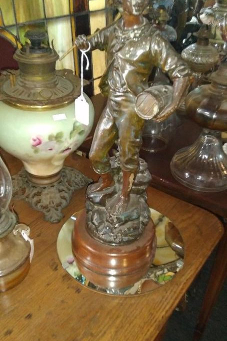 19th Century French Spelter American patriot Figure Table Lamp