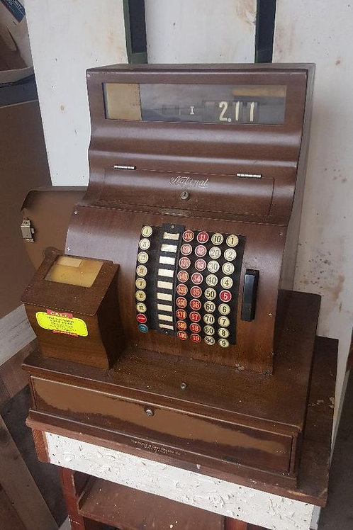 Antique all metal with wooden look  finish National Brand cash register