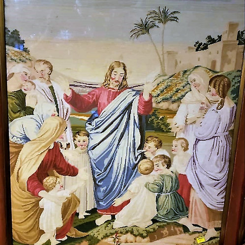 This is a beautiful needlepoint done with a 45x40 frame Jesus Mary and his disci