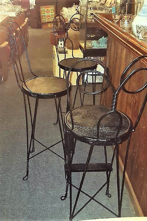 Set of 3 Antique Vintage Twisted Wire Soda Fountain Stools