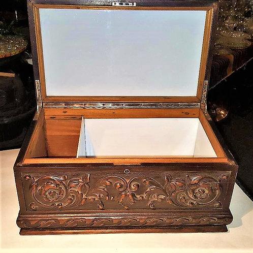Antique/Vintage Cigar Humidor hand Carved wood with inside refurbished