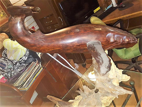 """28"""" High 31"""" Long , Large Ironwood Vintage Wooden Whale Sculpture F"""