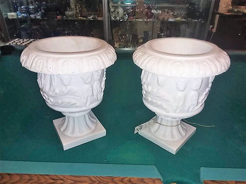 White Solid Marble Planters, inside or outside, Lawn & Garden, Matching pair