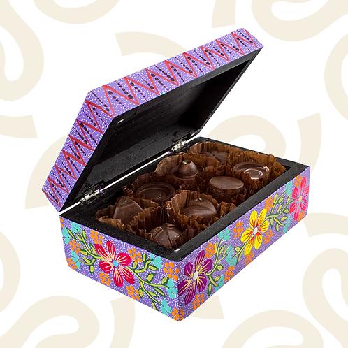 Caja de chocolates elaborada en San Martín Tilcajete