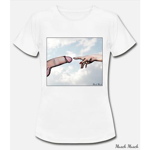 """Damen T-Shirt """"DER SCHWANZ GOTTES"""" weiss"""