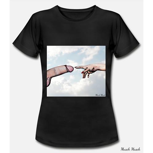 """Damen T-Shirt """"DER SCHWANZ GOTTES"""" schwarz"""