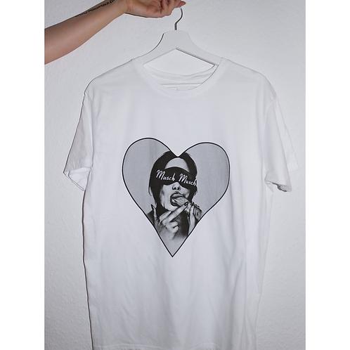 """Herren T-Shirt """"MUSCH MUSCH LOVES BLOWJOB"""" weiss"""