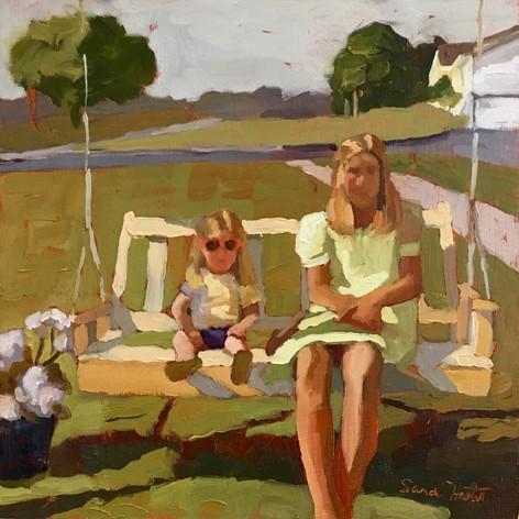Sisters, 10x10 oil by Sandi Hester