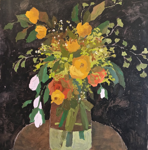 Flowers, 24x24 oil by Sandi Hester