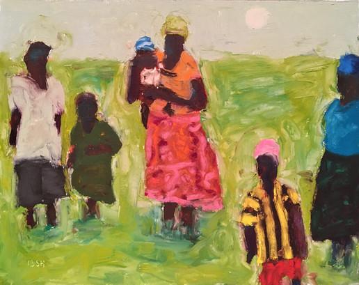 African Women & Children, 11x14 oil bars by Sandi Hester